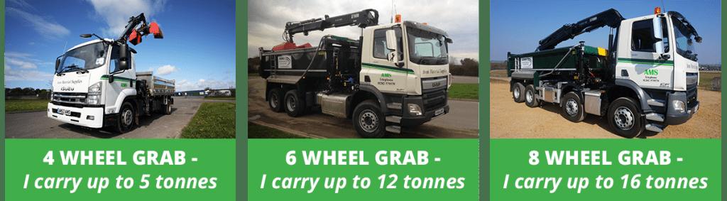 Grab lorry sizes