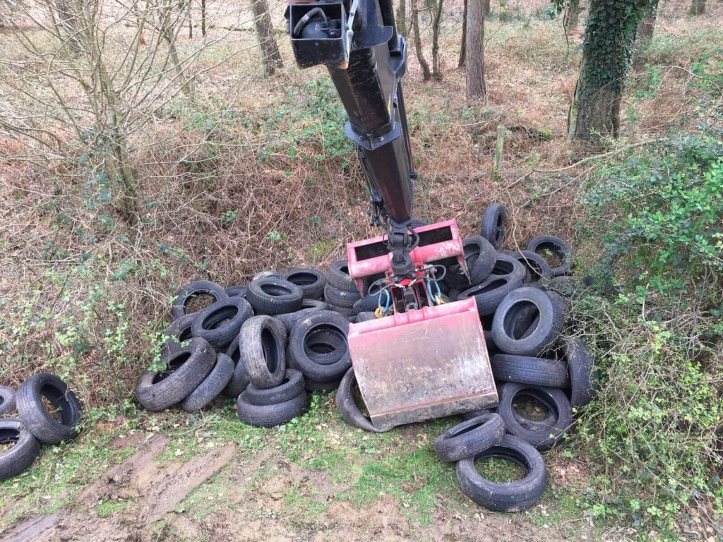 Fly tipped lorries in Norley Wood, New Forest