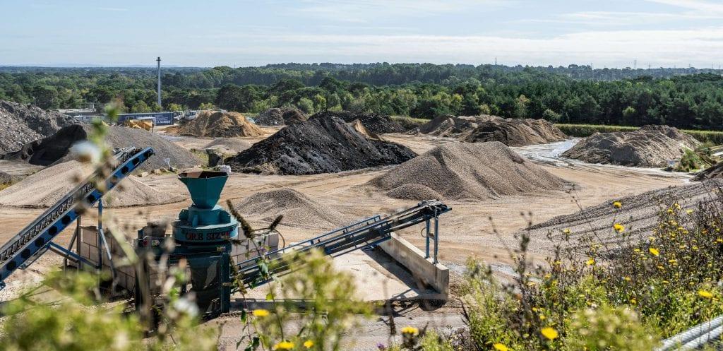 AMS aggregate collection site near Wimborne in Dorset