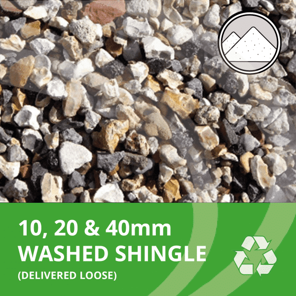 10, 20 & 40mm washed shingle delivered loose by AMS