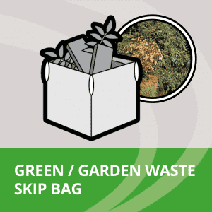 skip bag filled with garden waste