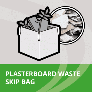 Skip bag filled with plasterboard waste