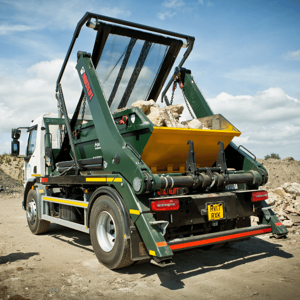 AMS skip loaded with inert waste