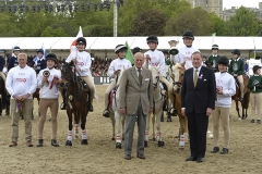 Members of Team England, winners of The DAKS Pony Club Games, being presented with the Prince Phillip Cup by HRH Prince Phillip at the Royal Windsor Horse Show in the private grounds of Windsor Castle in Windsor in Berkshire in the UK between 10th-14th May 2017
